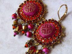 Magenta fire chandelier earring gipsy silk brocade by ellivira