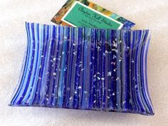 Fused Glass Soap Dish - Blues