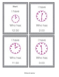 $ I Have Who Has Game for Telling Time To the Half Hour and Hour. A fun and engaging way to practice telling time!