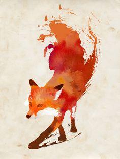 Vulpes vulpes Art Print Tattoo Ideas, Brush Strokes, Watercolor Tattoos, A Tattoo, Artist, Foxes, Print, Red Fox, Fox Art