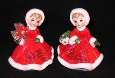 Vintage Christmas NAPCO Angel Girl figurines with poinsettia & package 1950's