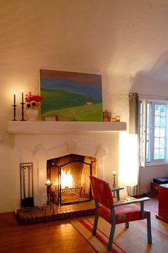 painted fireplace, unpainted hearth