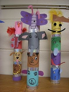 group activities, toilet paper rolls, toilet paper tubes, animal totems, totem poles, social studies, team building activities, arts integration, art rooms
