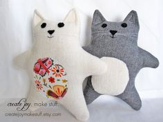 Baby Cat Sewing Pattern - PDF printable - DIY - Tutorial, Easy, simple, kitten, cloth, fabric, plushie, softie, doll, stuffed, soft, toy. $7.00, via Etsy.