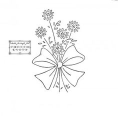 flower bouquet with bow embroidery pattern
