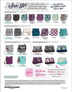 Only in October!! Thirty-One is offering the Retro Metro Crossbody for 50% off as well as all of the other Retro Metro products