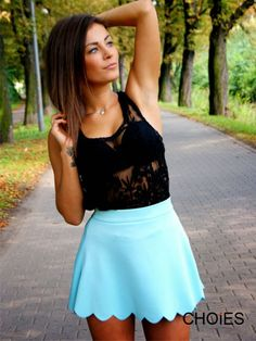 scallop skirt and lace top
