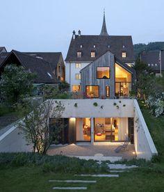 Switzerland: Kirchplatz Residence rear facade -  Oppenheim Architecture + Design