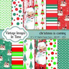 Christmas scrapbook paper linen backgrounds by VintageImagesInTime, $2.00