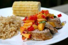 Pork tenderloin with peach salsa...dinner success!