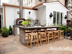 Outdoor Cooking. Design: Mick De Giulio. Photo: Sarah Bonk. housebeautiful.com #koty #kitchen #outdoor_oven #entertaining #patio #grill