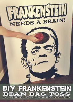 halloween parties, brain games, zombie party games, halloween games, bean bags, bag toss