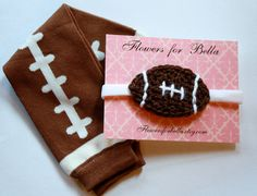 Crochet Baby girl Football Headband and Football Leg Warmers.
