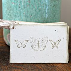 Butterfly Trio Natural Gift Tags  Set of 14 by MariaSoleil on Etsy, $3.50