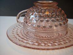 Hobnail Depression Glass Cup & Saucer