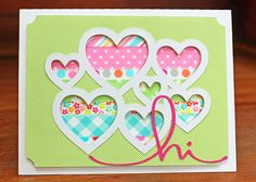 Mix Tape Card - Scrapbook.com - Back a die cut piece with rows of washi tape for a colorful effect.