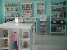 Sooo blue and pretty! #CraftRoom wall colors, scrapbook rooms, art room, sewing rooms, storage ideas, desk layout, scrap room, dream rooms, craft rooms