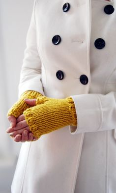 cropped motor mittens in Mustard Yellow