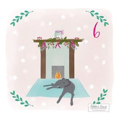 Almost forgot to post this! Day 6 of the #illustratedadvent2015 challenge & the theme is fireplace. I was inspired by my scruffy lurcher Bertie, who's currently flaked out after a busy morning with all of his pointy dog friends at the Christmas pointy dog walk!