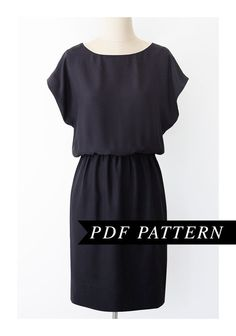Short kimono sleeve dress - .PDF pattern.