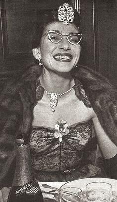 Maria Callas love the rhinestone glasses.
