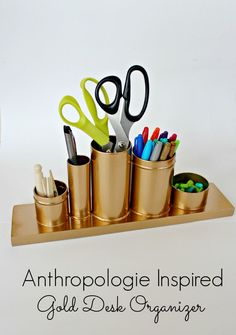 Anthropologie Inspired Gold Pencil Holder - Desk Organizer , Webelos Artist construction or Craftsman project could be a gift