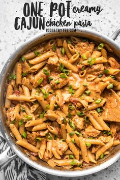 Cook a complete dinner in one pot with this Creamy Cajun Chicken Pasta, using mostly pantry-stable items. Perfect for busy weeknights! Budgetbytes.com #onepot #easydinner
