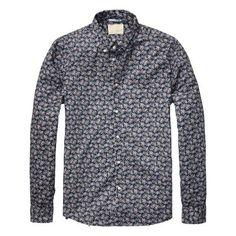 Scotch and Soda Blue Floral Print Button Down Dress Shirt £80.00