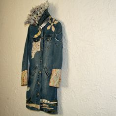 upcycled clothing upcycled denim jacket  heart on by pondhopper, $187.00 long denim, heart, lace and denim jackets, upcycl cloth, vintage lace, refashion denim, upcycl denim, cloth upcycl, upcycled clothing
