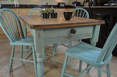 Shabby Chic Farmhouse Rustic Dining Table with 4 Stickback Chairs - Love the colors for the new set! Rustic Farmhouse, Shabby Chic, Chic Farmhous, Shabbi Chic, Painted Chairs, Farmhous Dine, Windsor Chairs, Dining Tables, Farmhouse Table And Chairs