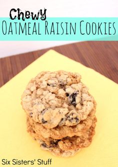 Chewy Oatmeal Raisin Cookies from SixSistersStuff.com.  A classic cookie that wont disappoint! #cookies #dessert #recipes