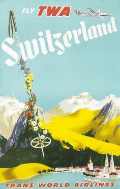 Artist Unknown Poster: Switzerland - Fly TWA (ski pole)