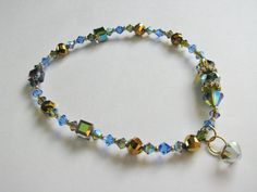 Anklet With Swarovski Crystals by mycreations001 on Etsy, $36.00