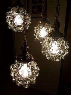 Four unusual globes - vintage swag light.