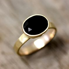 14k Gold And Black Spinel Ring Gemstone and by onegarnetgirl, $698.00