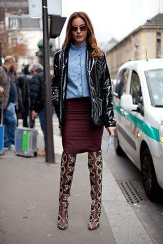 STREET STYLE SPRING 2013: PARIS FASHION WEEK - Snakeskin Lanvin boots serve as a major pièce de résistance.