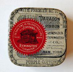 ribbon tin, vintage typography, graphic, vintage tins, ribbons, vintage packaging, vintage typewriters, old tins, typewrit ribbon