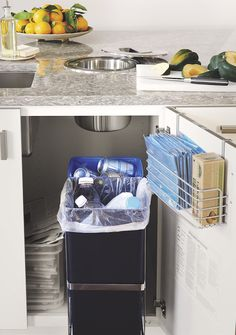 This pullout recycle center makes it easy to sort bottles and cans!