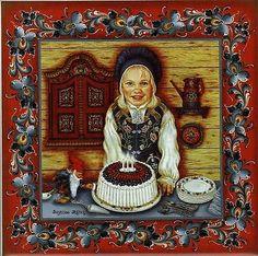 "Norwegian Rosemaling Tile ""Blotkake Girl"" w/ recipie 6"" X 6"" Suzanne Toftey"