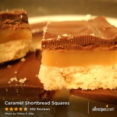 "Caramel Shortbread Squares | ""I discovered these at the family Christmas party and was instantly hooked. The shortbread is buttery and not too sweet and the caramel is creamy and not too gooey, all under a soft shell of chocolate. These things are to die for."""