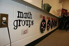 Magnets + pans = easy to change grouping.  And I like the use of awkward classroom space.