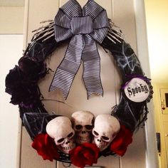 18 Black Grapevine Skull Halloween Wreath by BellaFioreCrafts, $30.00