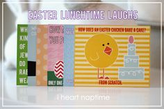 Easter Lunchtime Laughs...what a cute idea to put in kids lunches around Easter time!!
