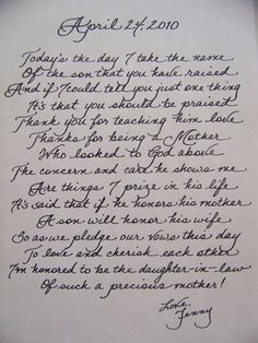 Love this idea of writing a heart-felt letter to the mother of the groom on such a special day. When her son becomes your husband, thank her for raising him to be the man of your dreams.