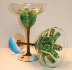PALM TREE HAND PAINTED MARGARITA GLASSES by The PaintedMann, via Flickr