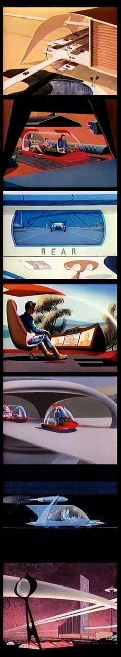 Disney's Magic Highway, USA - future vision rendered out in '50s & '60s modern cartoon style (1958).