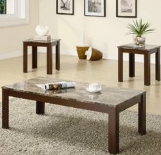 3pc Coffee Table and End Tables Set with Faux Marble Top in Brown Finish --- http://udal.us/8s