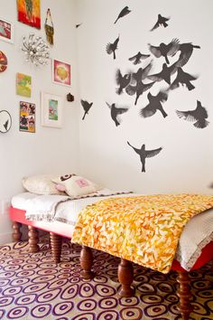 modern room with traditional legs on bed - unexpected in that each is different - Stylish Kids Room from Alexandra & Eliot's 1890's Farmhouse House Tour