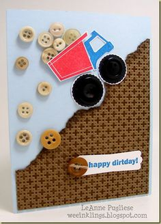Such a cute card for a little boy. Love the falling buttons! :)