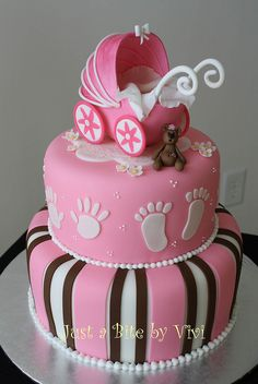 Stroller and Teddy baby shower cake